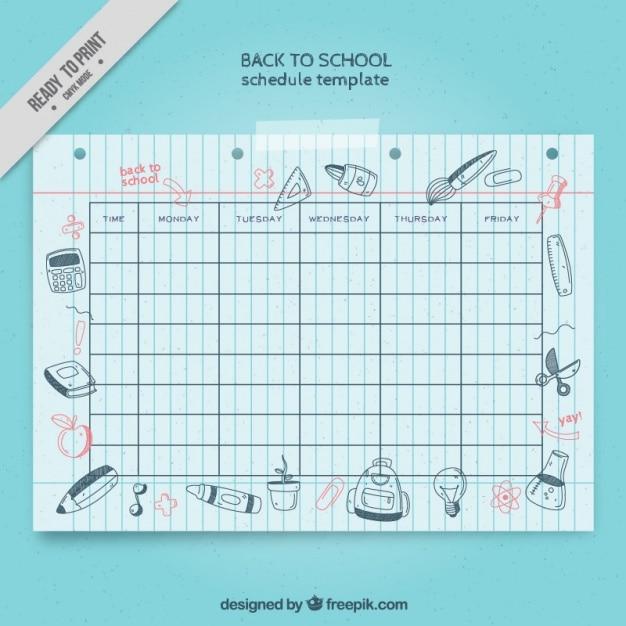 Harmonogram szkoła z rysunkami na powrót do szkoły Darmowych Wektorów