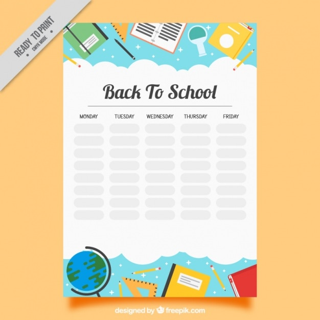 Harmonogram tygodniowy z przedmiotów szkolnych Darmowych Wektorów