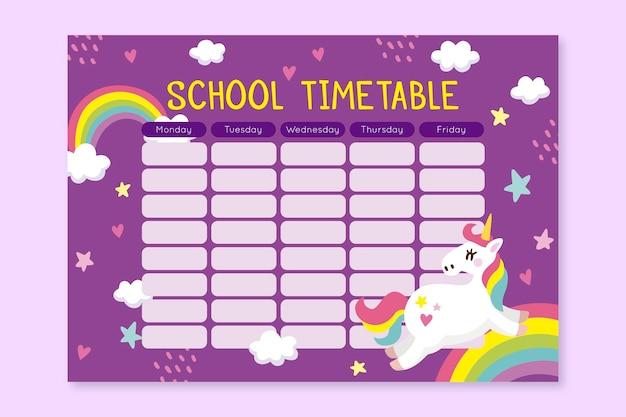 Harmonogram Unicorn Powrót Do Koncepcji Szkoły Darmowych Wektorów