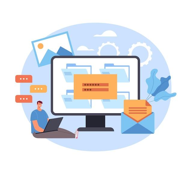 Hasło Logowania Wprowadź Koncepcję Online Strony Internetowej. Premium Wektorów