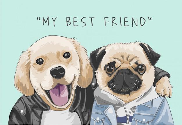 """Hasło """"mój najlepszy przyjaciel"""" ze słodkimi psami Premium Wektorów"""