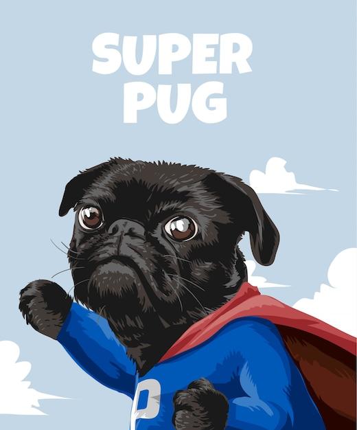 Hasło Super Pug Z Kreskówkowym Mopsem W Stroju Bohatera Premium Wektorów