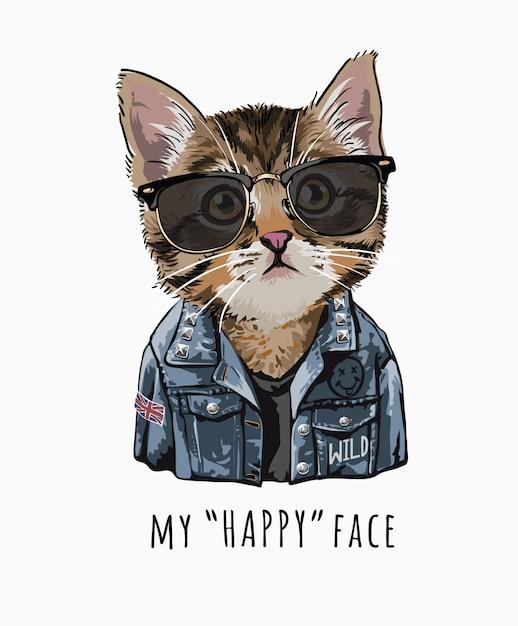 Hasło Typografii Z Uroczym Kotem W Okularach Przeciwsłonecznych I Dżinsowej Kurtce Premium Wektorów