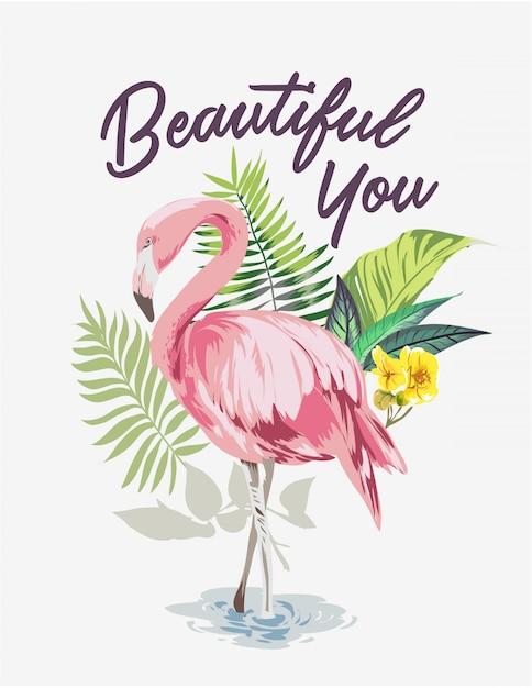 Hasło Z Flamingiem W Egzotycznym Lesie Premium Wektorów
