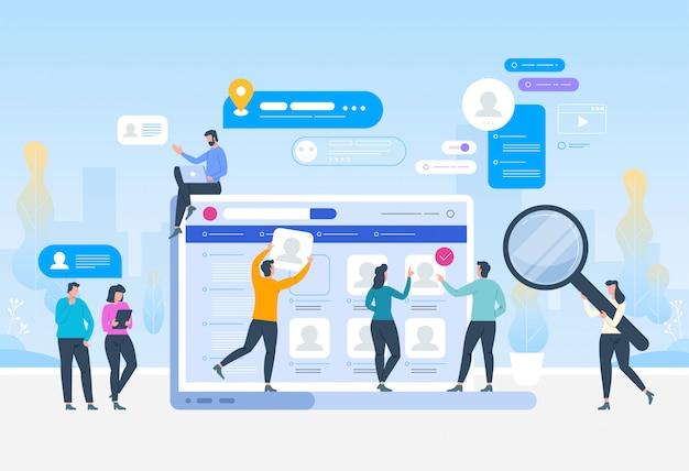 Head Hunting W Sieci Społecznościowej Premium Wektorów