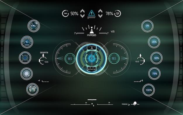 Head-up Przyszły Wyświetlacz. Streszczenie Hud. Futurystyczny Zestaw Interfejsu Użytkownika Nowoczesnej Gry Sci Fi. Premium Wektorów