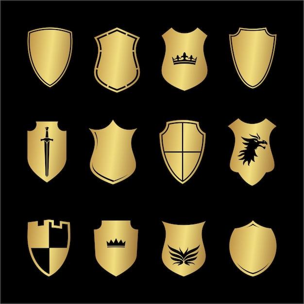 Heraldyka średniowieczna Tarcza Kształtów Premium Wektorów