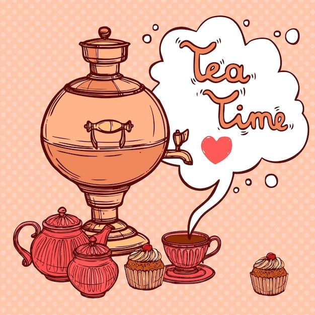 Herbata Tło Z Samowar Darmowych Wektorów