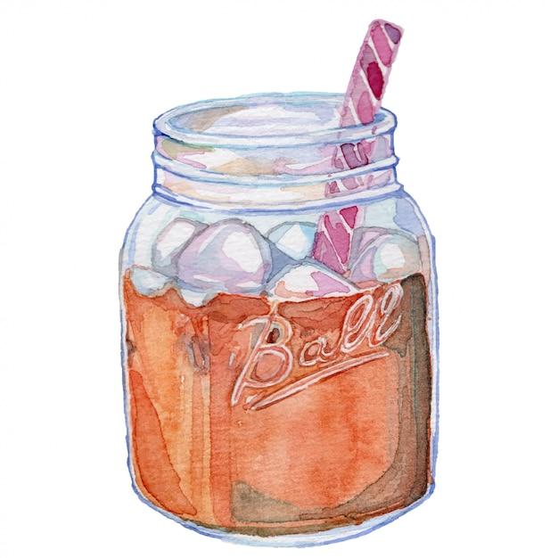 Herbata W Mason Jar Vintage Akwarela Ilustracji Premium Wektorów