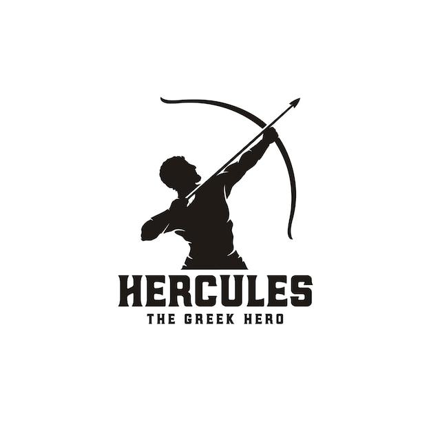 Herkules Herakles Z łukową Strzałą Z Długimi łukami, Logo Greckiego Wojownika Muscular Myth Sylwetka Premium Wektorów