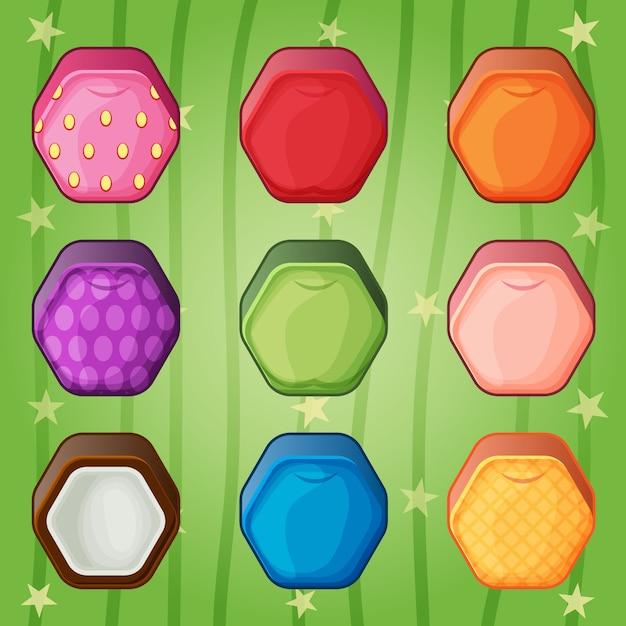 Hexagon Owoce Słodkie Cukierki Kolorowe Dopasowanie Stylu Gry. Premium Wektorów