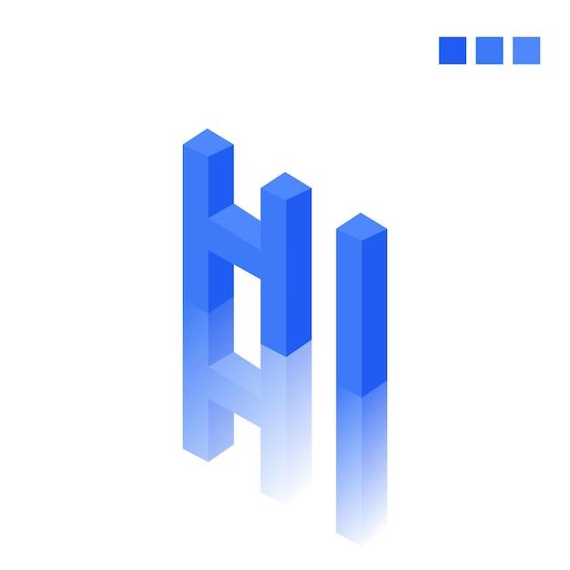Hi Tekst W Nowoczesnym Stylu 3d Premium Wektorów