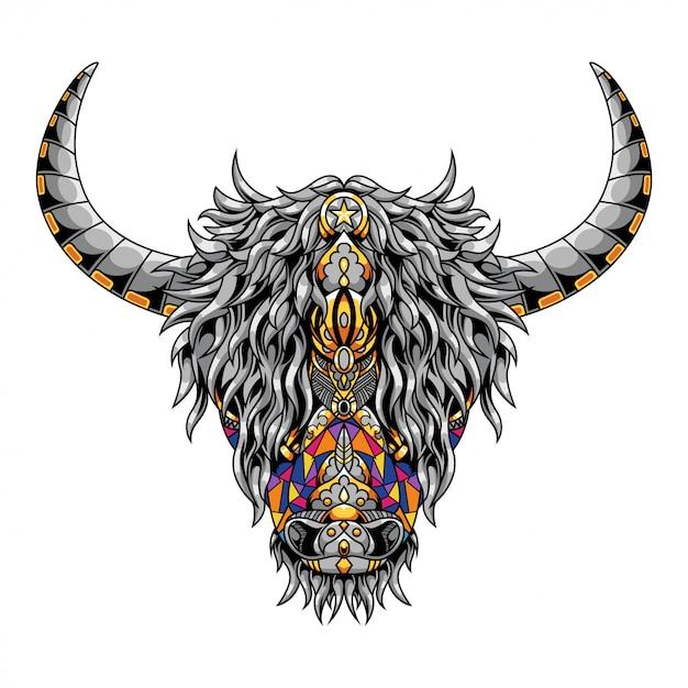 Highland Cow Mandala Zentangle Ilustracja I Projekt Koszulki Premium Wektorów
