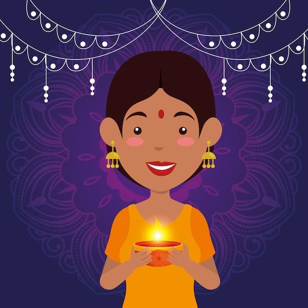Hinduska Kobieta Z świeczką I świateł Wieszać Darmowych Wektorów