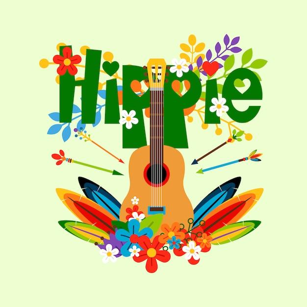 Hipis Ilustracja Z Gitarą I Kwiatami Premium Wektorów