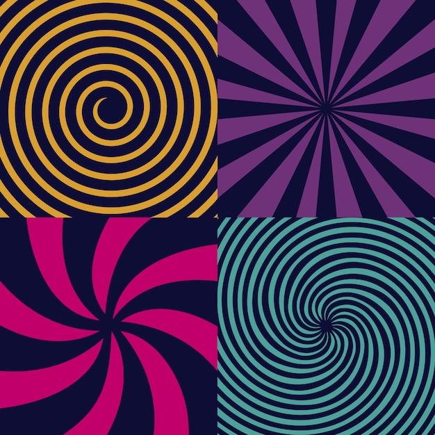 Hipnotyczna spirala psychodeliczna, kręcenie, wir. Premium Wektorów