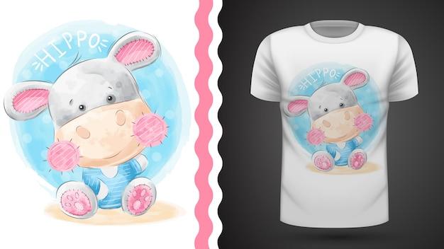 Hipopotam waercolor - pomysł na t-shirt z nadrukiem Premium Wektorów
