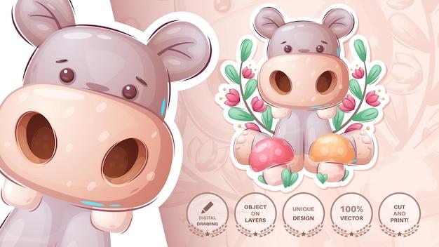 Hipopotam Z Grzybami - Urocza Naklejka Darmowych Wektorów