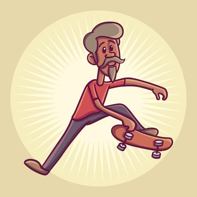 Hipster Postać Na Longboard. Ilustracja. Premium Wektorów