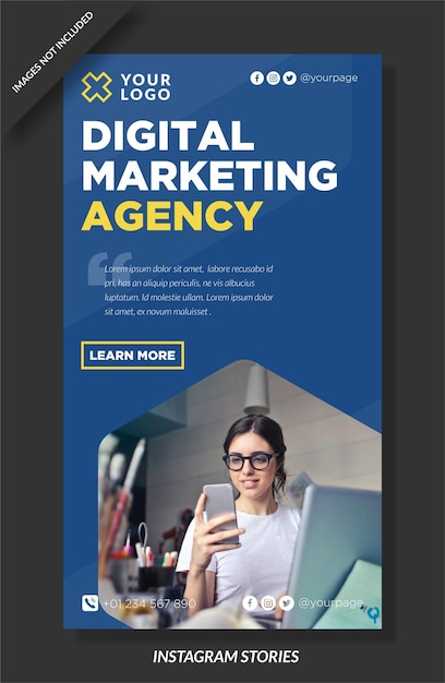 Historia Instagram Agencji Marketingu Cyfrowego Premium Wektorów
