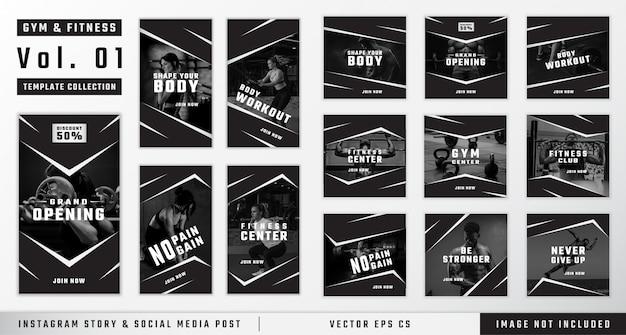 Historia instagramu na siłowni i fitness oraz kolekcja szablonów postów w mediach społecznościowych Premium Wektorów