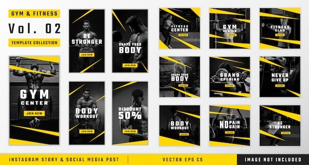 Historia instagramu na siłownię i fitness oraz kolekcja szablonów postów w mediach społecznościowych Premium Wektorów