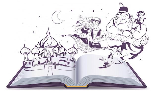 Historia Otwartej Książki Magiczna Lampa Aladyn. Arabskie Opowieści Alladyn, Dżin I Księżniczka Premium Wektorów