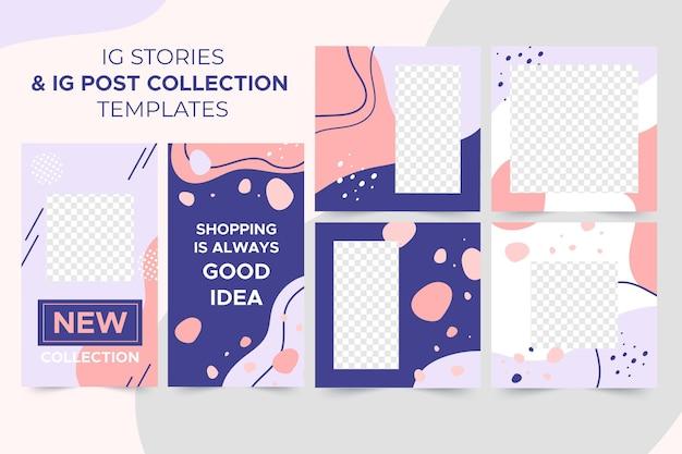 Historie Ig + Szablony Kolekcji Postów Ig Premium Wektorów