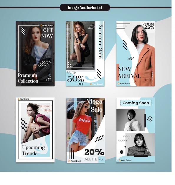 Historie mediów społecznościowych instagram mody prosty szablon nowoczesny design Premium Wektorów