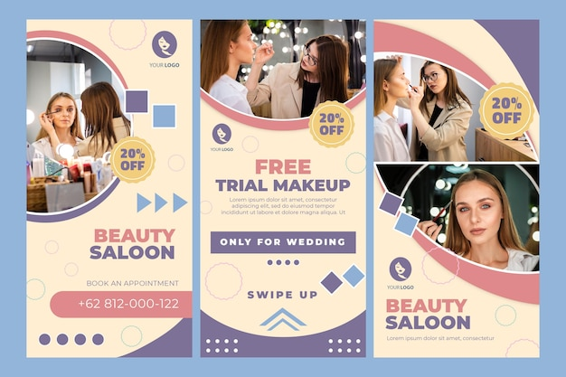 Historie Na Instagramie Dotyczące Salonu Piękności Premium Wektorów