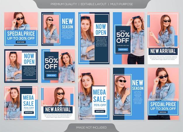 Historie na instagramie i szablon sprzedaży modowej post feed Premium Wektorów