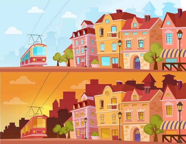 Historyczna Ulica Miasta O Zachodzie Słońca, Wschodzie Słońca I Słonecznym Dniu. Stare Miasto Z Tramwajem. Kreskówka Premium Wektorów
