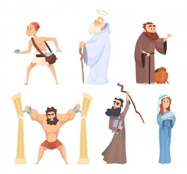 Historyczne ilustracje chrześcijańskich postaci z pisma świętego Premium Wektorów
