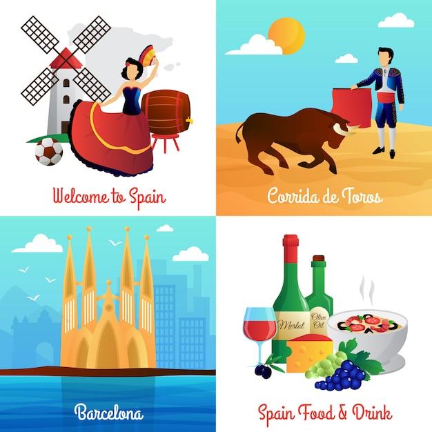 Hiszpania Podróżować Z Flamenco Barcelona Katedra Corrida I Jedzenie Darmowych Wektorów