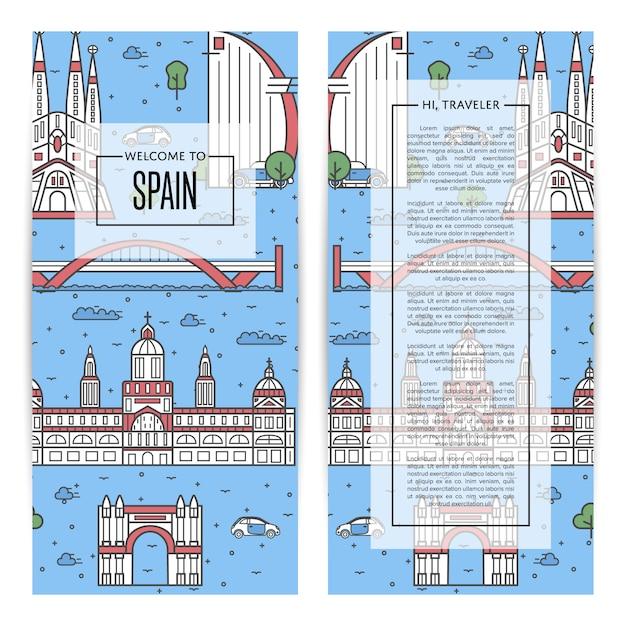Hiszpania Ulotki Podróżujące Ustawione W Stylu Liniowym Premium Wektorów