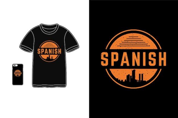 Hiszpański, T-shirt Typu Siluet Z Gadżetami Premium Wektorów
