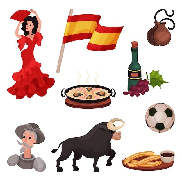 Hiszpańskie Tradycyjne Symbole I Przedmioty. Ilustracja Na Białym Tle. Premium Wektorów