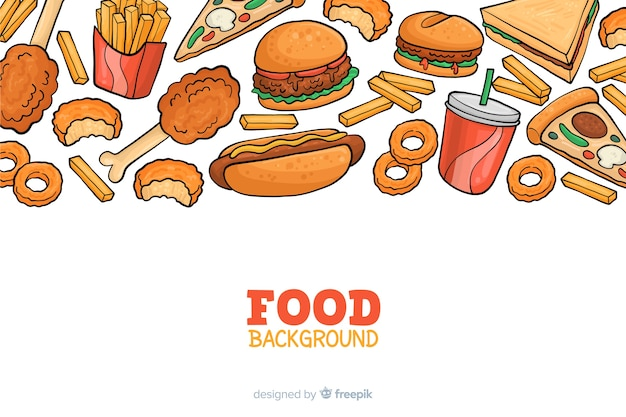 Hnad rysował tło fast foodów Darmowych Wektorów