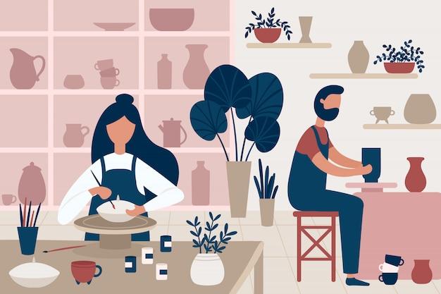 Hobby Ceramiki. Ręcznie Robione Wyroby Ceramiczne, Ludzie Dekorujący Garnki I Rękodzieła Ceramiki Warsztat Płaski Ilustracja Premium Wektorów