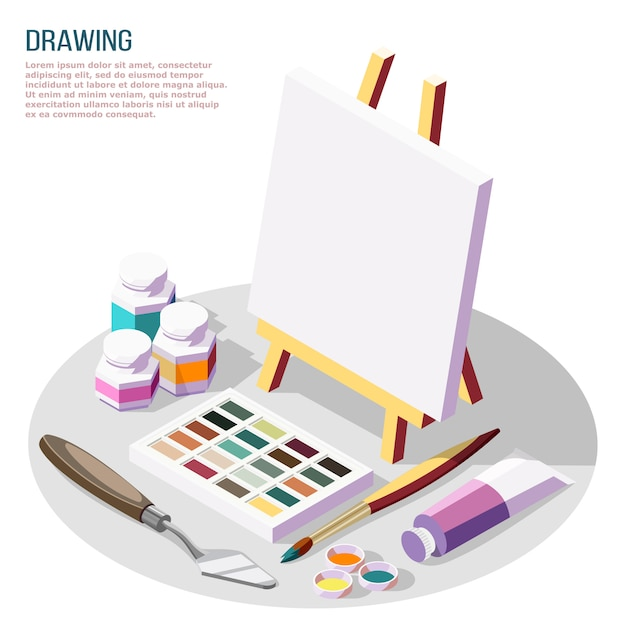 Hobby Wykonuje Izometryczny Skład Z Różnymi Akcesoriami Do Rysowania I Malowania Na Białym 3d Darmowych Wektorów