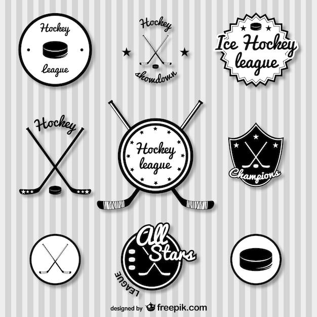Hokej Odznaki Zestaw Retro Premium Wektorów