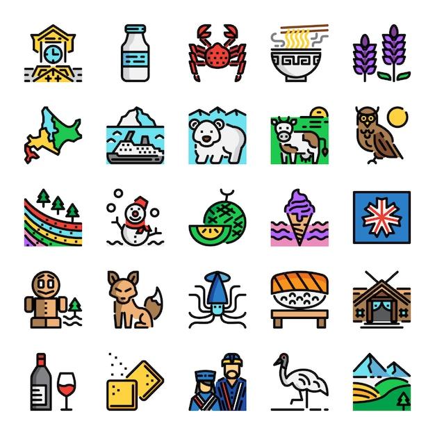 Hokkaido pikseli idealny kolor linii ikony Premium Wektorów