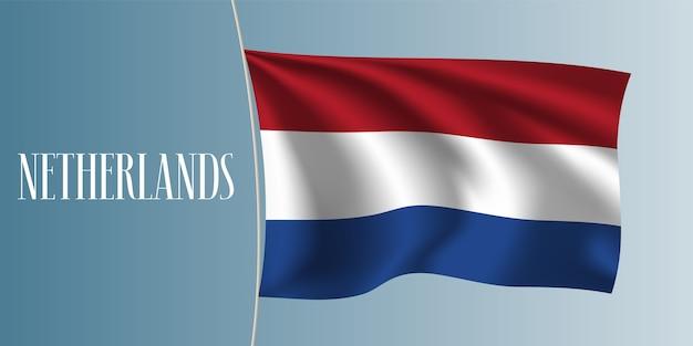 Holandia Macha Flagą Ilustracja Premium Wektorów