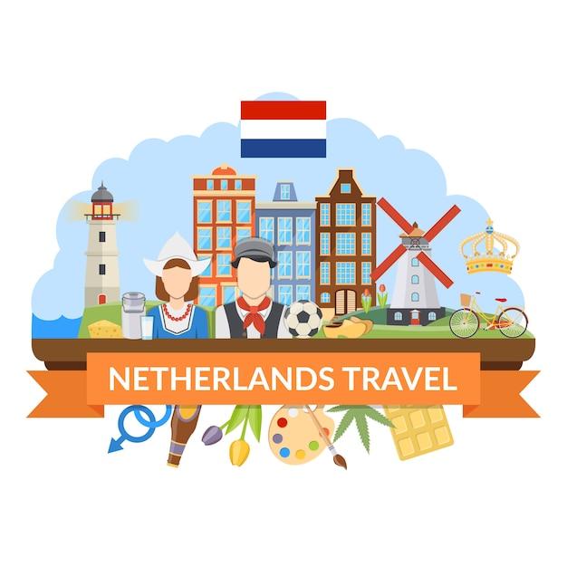 Holandia Podróż Płaska Kompozycja Darmowych Wektorów