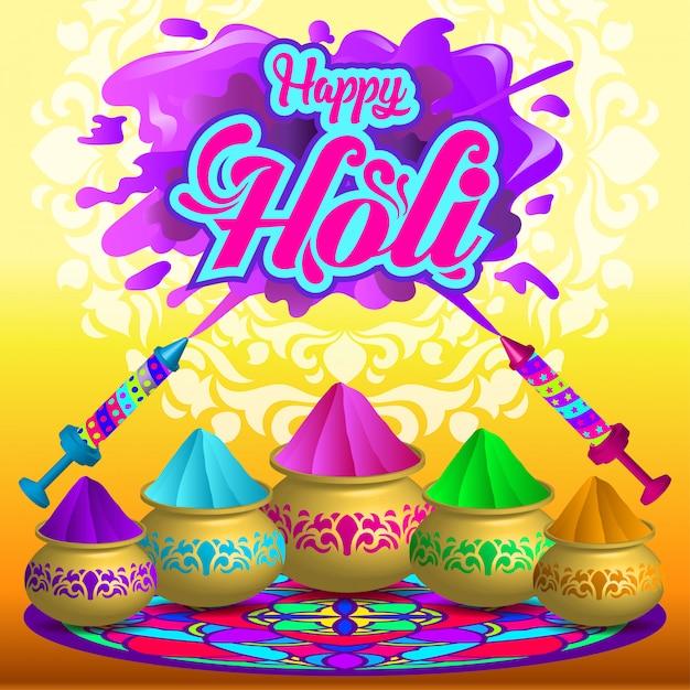 Holi Celebration Premium Wektorów