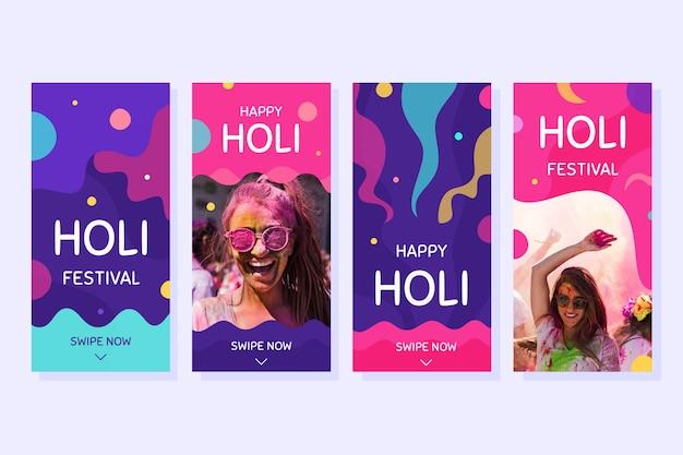 Holi Festival Instagram Collection Collection Darmowych Wektorów
