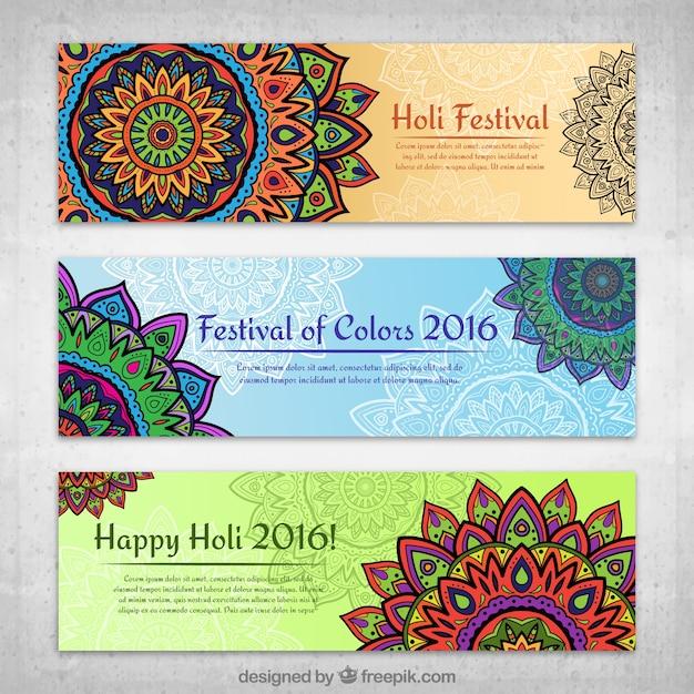 Holi festival mandale banery Darmowych Wektorów