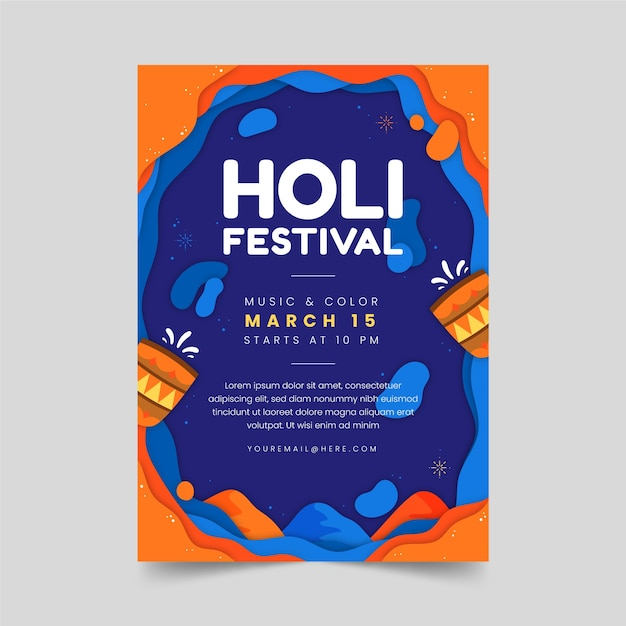 Holi Party Plakat Z Tradycyjnymi Okularami Darmowych Wektorów