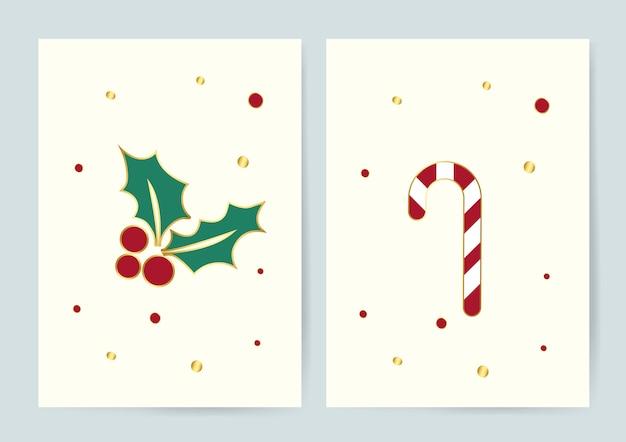Holly opuszcza i cukierek trzciny kartek bożonarodzeniowa wektor Darmowych Wektorów