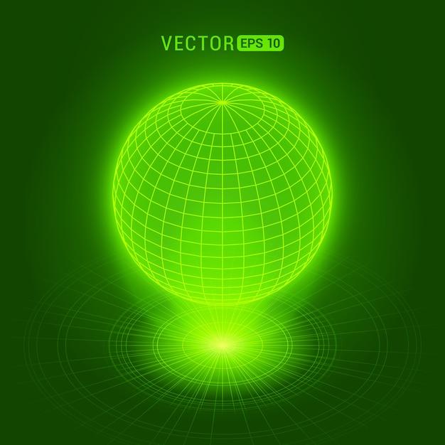Holograficzna kula przeciw zielonemu abstrakcjonistycznemu tłu z okręgami i źródłem światła Premium Wektorów